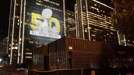 SB City_Generators with SB 50 lit up behind on skyline